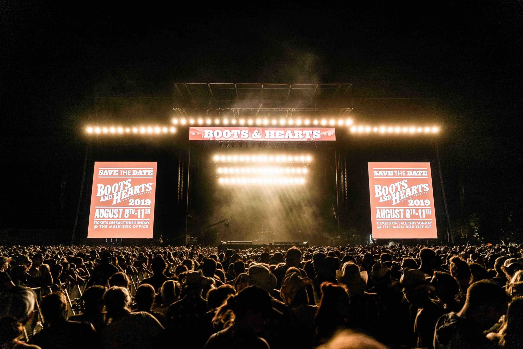 Boots and Hearts Main Stage at Night