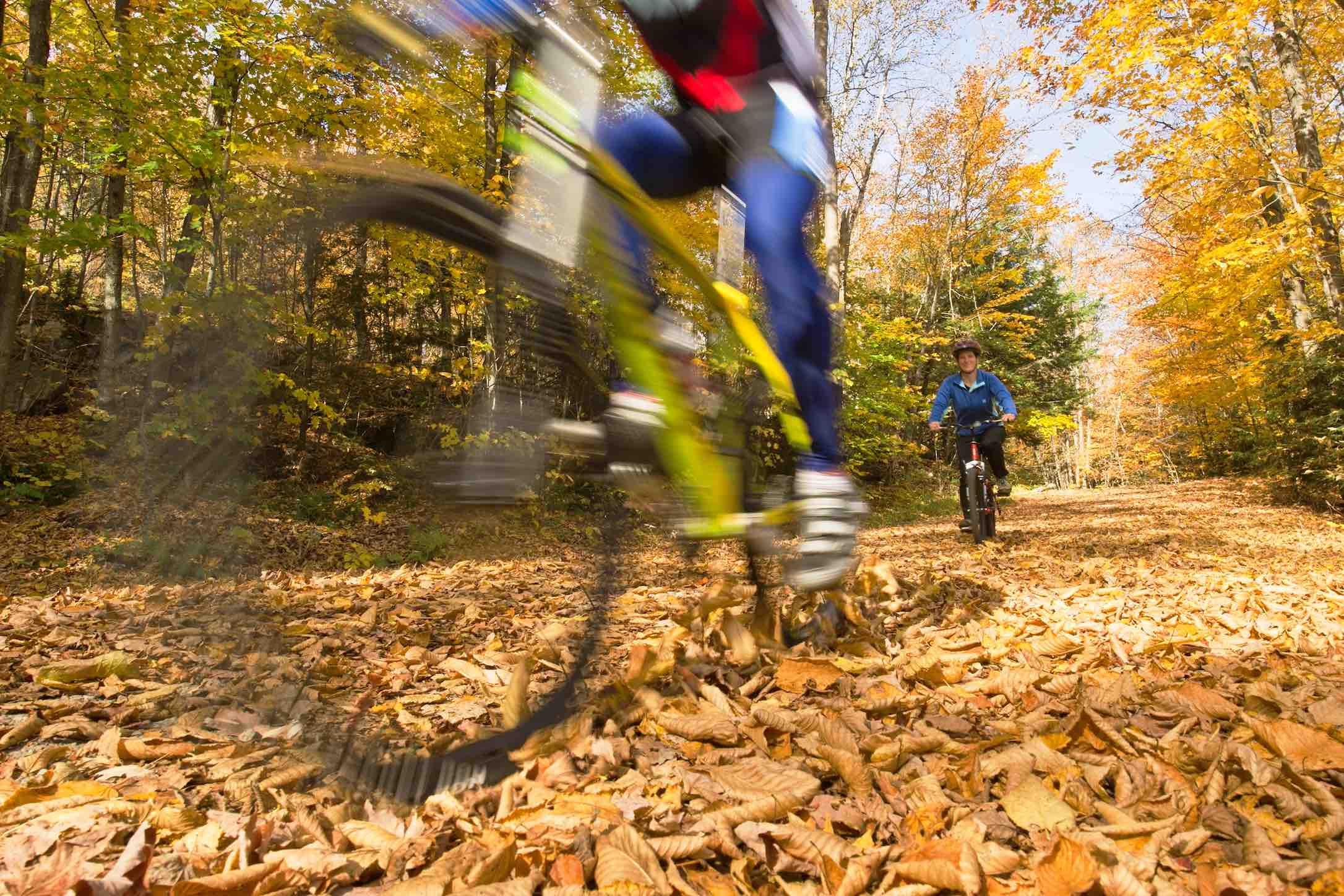 Orillia People Biking on trails in the fall